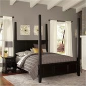 Home Styles Bedford Poster Bed and Night Stand in Black