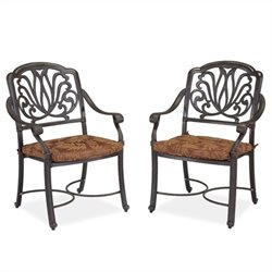 Home Styles Floral Blossom Set of Arm Chairs with Cushion in a Charcoal Finish