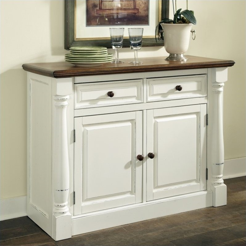 Kitchen Buffet Table : Home Styles Monarch Buffet in White and Oak Finish [438945]