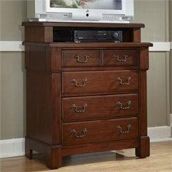 Home Styles Aspen Media Chest in Rustic Cherry