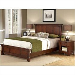 Home Styles Aspen Queen Bed and Night Stand in Rustic Cherry