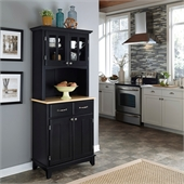 Home Styles Furniture Black Wood Buffet with Natural Wood Top and 2-Door Panel Hutch