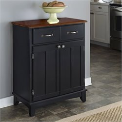 Home Styles Furniture Black Buffet Server with Cherry Wood Top