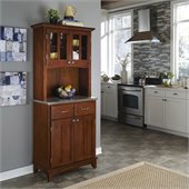Home Styles Furniture Cherry Wood Buffet with Stainless Steel Top and 2-Door Panel Hutch