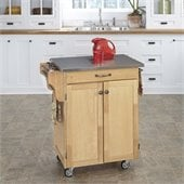 Home Styles Furniture Natural Wood Cart with Stainless Steel Top