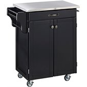 Home Styles Furniture Black Wood Kitchen Cart with Stainless Steel Top