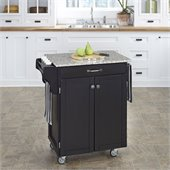 Home Styles Furniture Black Wood Kitchen Cart with Salt and Pepper Granite Top