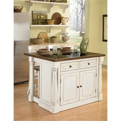 Home Styles Monarch Granite Top Kitchen Island and Stools 3 Piece Set in White