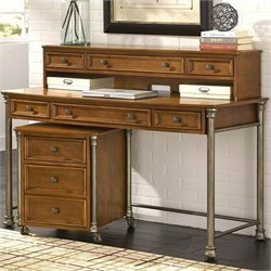 Home Styles Orleans Executive Desk with Hutch and Mobile File in Vintage Caramel