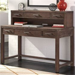 Home Styles Barnside Executive Desk with Hutch in Aged Barnside
