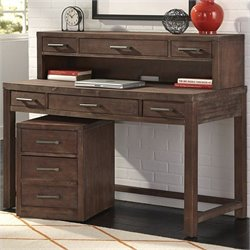 Home Styles Barnside Executive Desk with Hutch and Mobile File in Aged Barnside