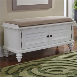 Home Styles Bermuda Upholstered Bench in Brushed White