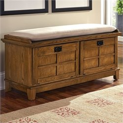 Home Styles Arts and Crafts Cottage Upholstered Bench in Cottage Oak