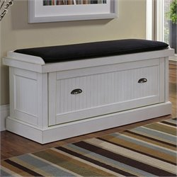 Home Styles Nantucket Upholstered Bench in White