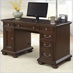 Home Styles Colonial Classic Pedestal Desk in Dark Cherry