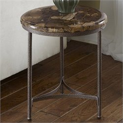 Home Styles Turn to Stone Accent Table in Petrified Wood and Gray