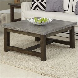 Home Styles Concrete Chic Square Coffee Table in Brown and Gray