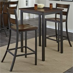 Home Styles Cabin Creek 3 Pieces Bistro Set in Multi-step Chestnut