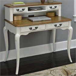 Home Styles French Countryside Student Desk and Hutch in Oak and Rubbed White