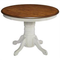 Home Styles French Countryside Pedestal Table in Oak and Rubbed White