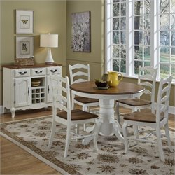 Home Styles French Countryside 5 Pieces Dining Set in Oak and Rubbed White