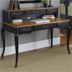 Home Styles French Countryside Executive Desk and Hutch in Oak and Rubbed Black