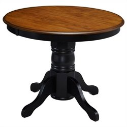 Home Styles French Countryside Pedestal Table in Oak and Rubbed Black