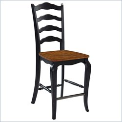 Home Styles French Countryside 24 Counter Stool in Oak and Rubbed Black