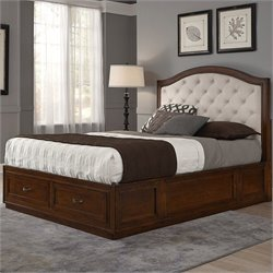 Home Styles Duet Bed with Oyster Microfiber in Rustic Cherry