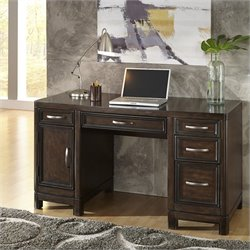 Home Styles Crescent Hill Pedestal Desk in Two Tone Tortoise Shell