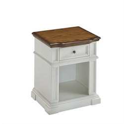 Home Styles Americana Night Stand in White and Oak