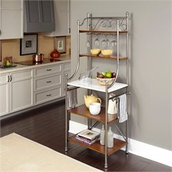 Home Styles The Orleans Marble Baker's Rack in Vintage Caramel