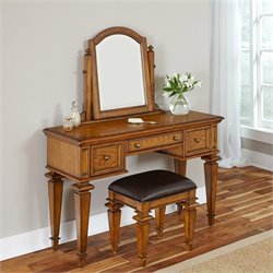 Home Styles Americana Bedroom Vanity and Bench in Oak