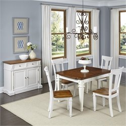 Home Styles Americana 5 Piece Dining Set with Buffet in White Oak