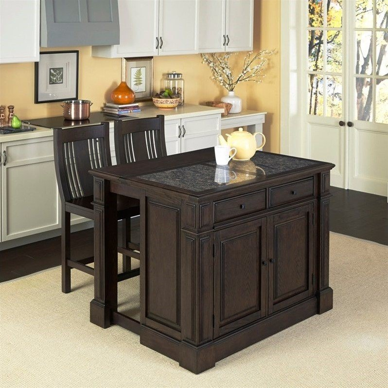 Prairie Home Kitchen Island Cart with Stools in Black Oak [523855