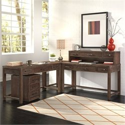 Home Styles Barnside 2 Piece Wood Corner Desk Set in Weathered Brown