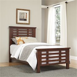 Home Styles Cabin Creek Wood Twin Slatted Bed in Chestnut