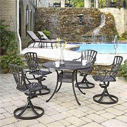 Home Styles Largo 5 Piece Patio Dining Set in Charcoal