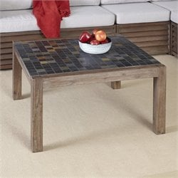 Home Styles Morocco Coffee Table in Wire Brushed with Slate Top