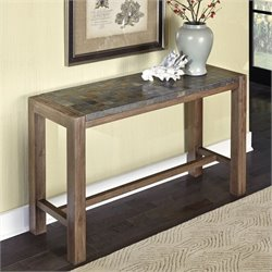 Home Styles Morocco Console Table in Wire Brushed with Slate Top