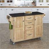 Home Styles Furniture Natural Kitchen Cart with Granite Top