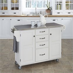Home Styles Furniture Stainless Steel Kitchen Cart in White