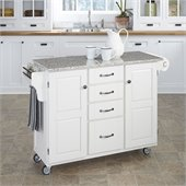 Home Styles Furniture Salt and Pepper Granite Top Kitchen Cart in White
