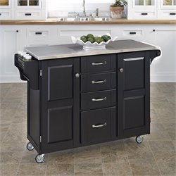 Home Styles Furniture Stainless Steel  Kitchen Island Cart in Black