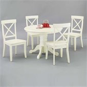 Home Styles Furniture 42 Round Pedestal Casual Dining Table in Antique White