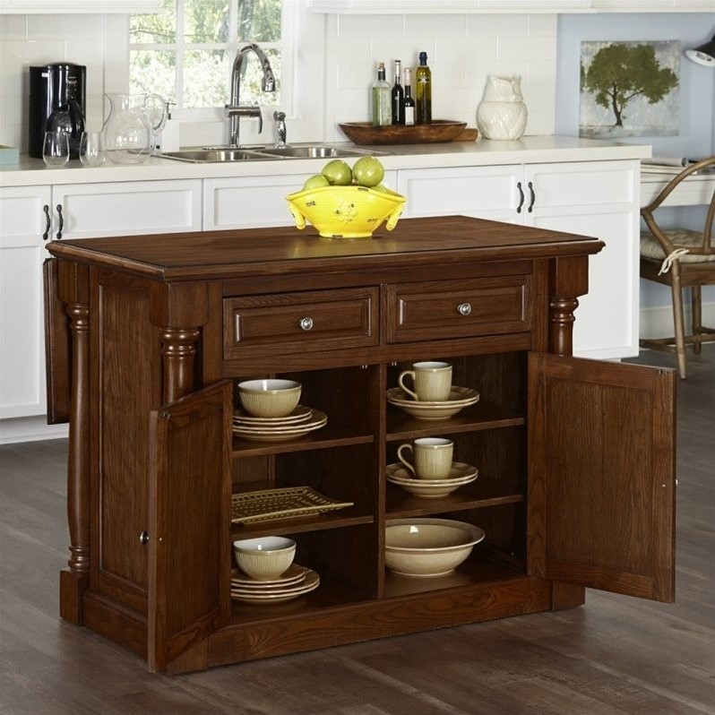 Home Styles Monarch Kitchen Island With Wood Top Oak Carts In Ebay