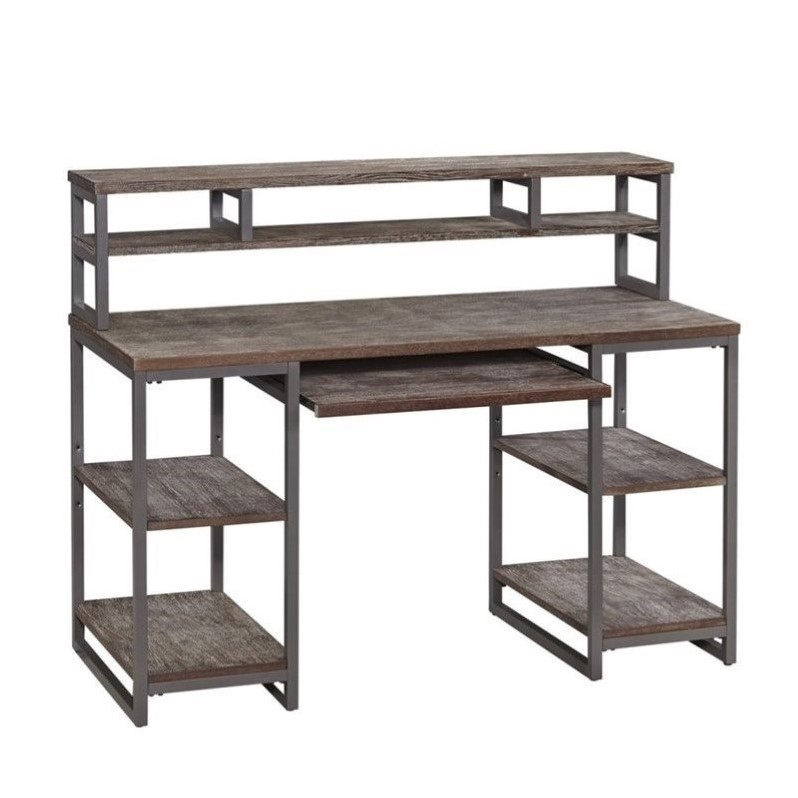 Home styles barnside metro computer desk and hutch in gray ebay - Hutch style computer desk ...
