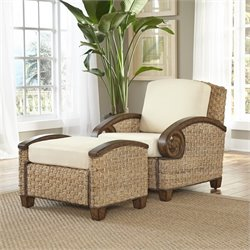 Home Styles Cabana Banana III Accent Chair and Ottoman in Honey