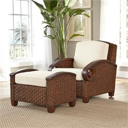 Home Styles Cabana Banana III Accnet Chair and Ottoman in Cinnamon