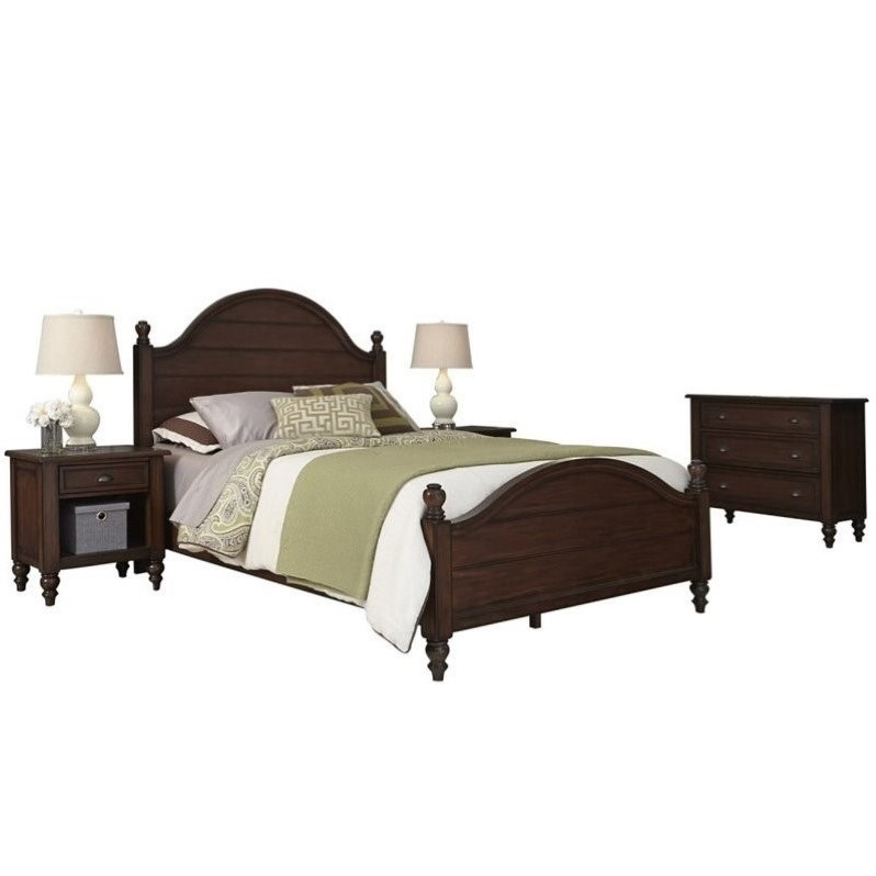 Home Styles Country Comfort King Bed 4 Piece Bedroom Set in Bourbon 5522-6031